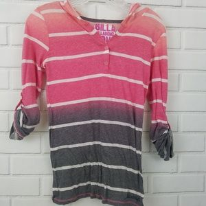 Billabong Striped Hooded Long Sleeved Tee size M